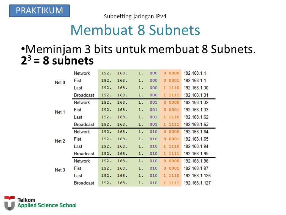 Subnetting jaringan IPv4 Membuat 8 Subnets(continued) PRAKTIKUM