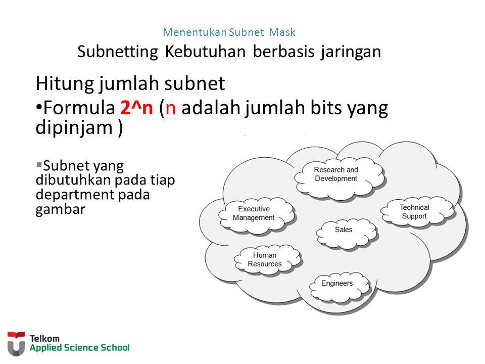 Menentukan Subnet Mask Subnetting untuk memenuhi kebutuhan jaringan Penting sekali menyeimbangkan jumlah subnets yang dibutuhkan dan jumlah hosts yang dibutuhkan untuk subnet terbesar.