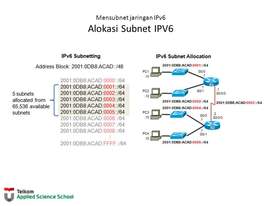Mensubnet jaringan IPv6 Mensubnet melalui ID antarmuka bit IPv6 dapat dipinjam dari ID antarmuka untuk membuat subnet IPv6 tambahan
