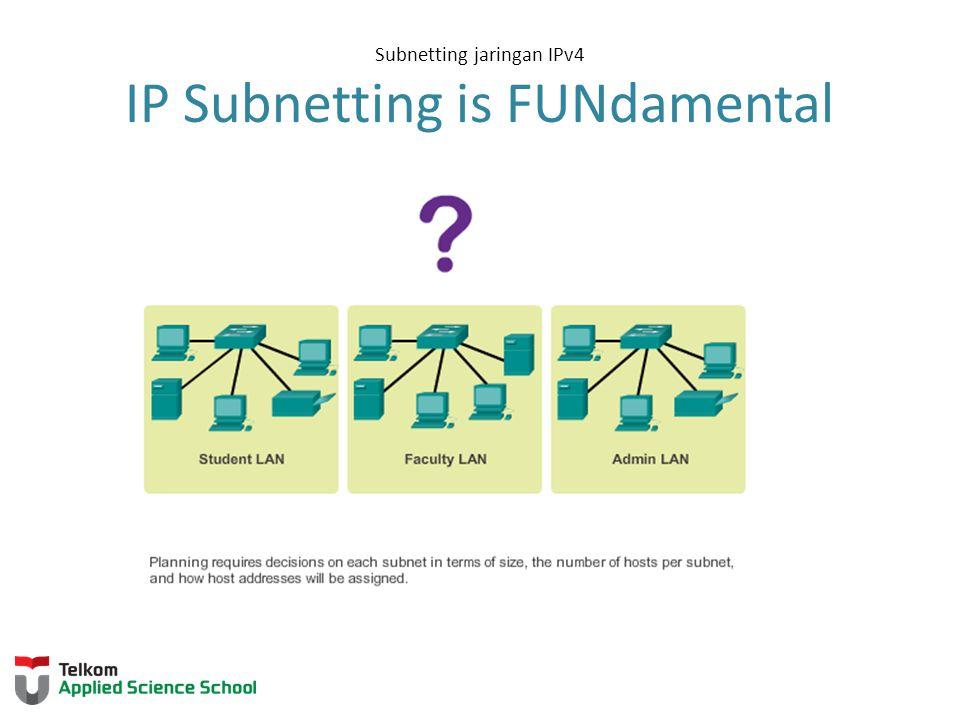 Subnetting jaringan IPv4 Basic Subnetting Borrowing Bits to Create Subnets Borrowing 1 bit 2 1 = 2 subnets Subnet 1 jaringan 192.168.1.128-255/25 Mask: 255.255.255.128 Subnet 0 jaringan 192.168.1.0-127/25 Mask: 255.255.255.128 Borrowing 1 Bit from the host portion creates 2 subnets with the same subnet mask PRAKTIKUM