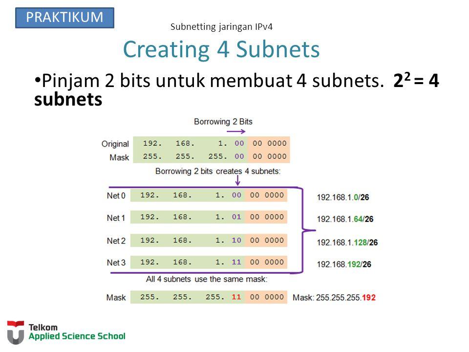 Subnetting jaringan IPv4 Membuat 8 Subnets Meminjam 3 bits untuk membuat 8 Subnets.