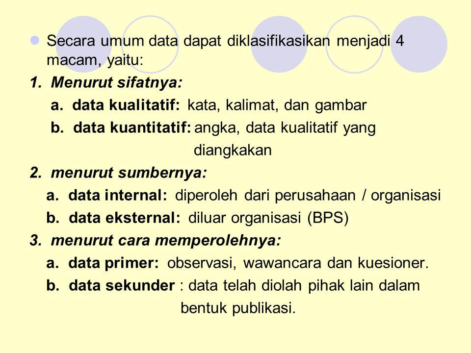 Secara umum data dapat diklasifikasikan menjadi 4 macam, yaitu: 1. Menurut sifatnya: a. data kualitatif: kata, kalimat, dan gambar b. data kuantitatif