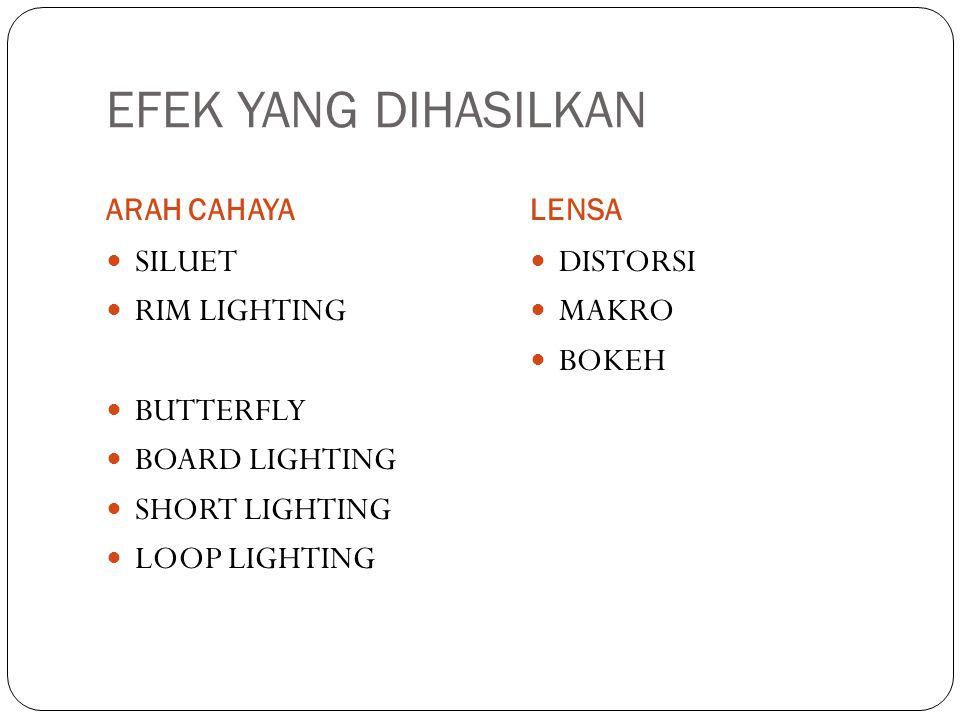 EFEK YANG DIHASILKAN ARAH CAHAYALENSA SILUET RIM LIGHTING BUTTERFLY BOARD LIGHTING SHORT LIGHTING LOOP LIGHTING DISTORSI MAKRO BOKEH