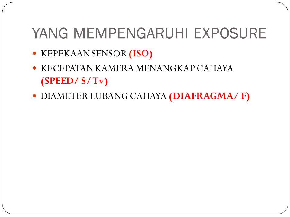 YANG MEMPENGARUHI EXPOSURE KEPEKAAN SENSOR (ISO) KECEPATAN KAMERA MENANGKAP CAHAYA (SPEED/ S/ Tv) DIAMETER LUBANG CAHAYA (DIAFRAGMA/ F)