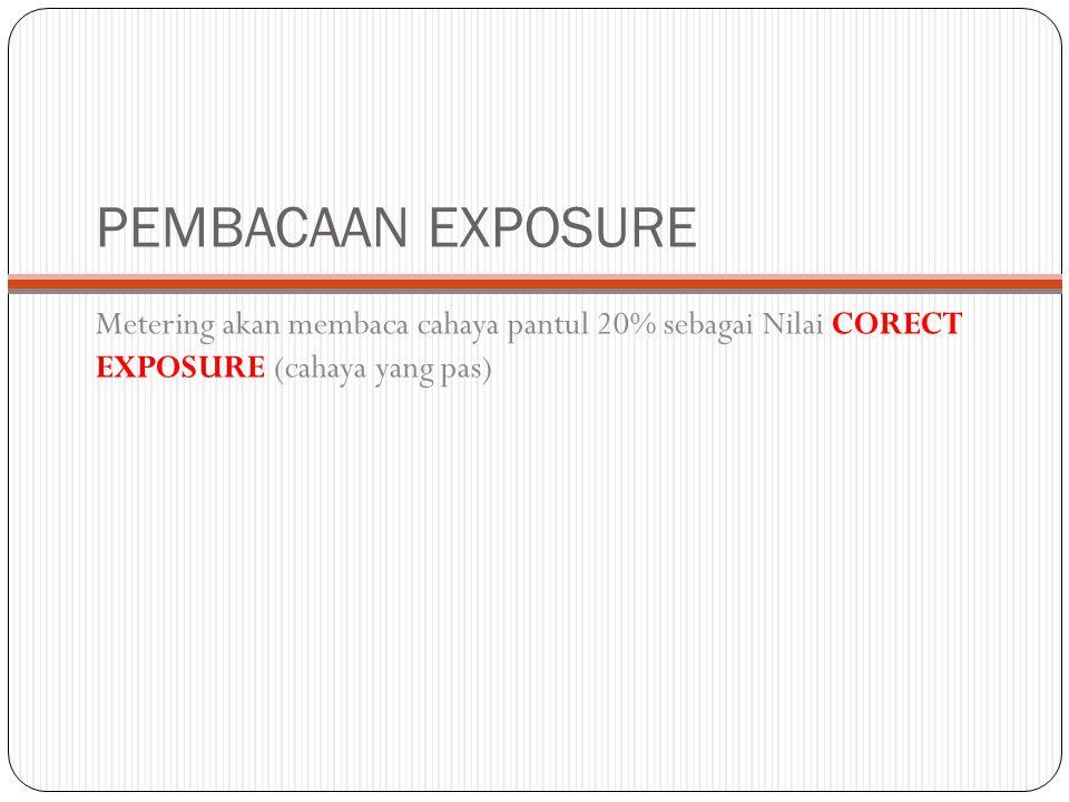 PEMBACAAN EXPOSURE Metering akan membaca cahaya pantul 20% sebagai Nilai CORECT EXPOSURE (cahaya yang pas)