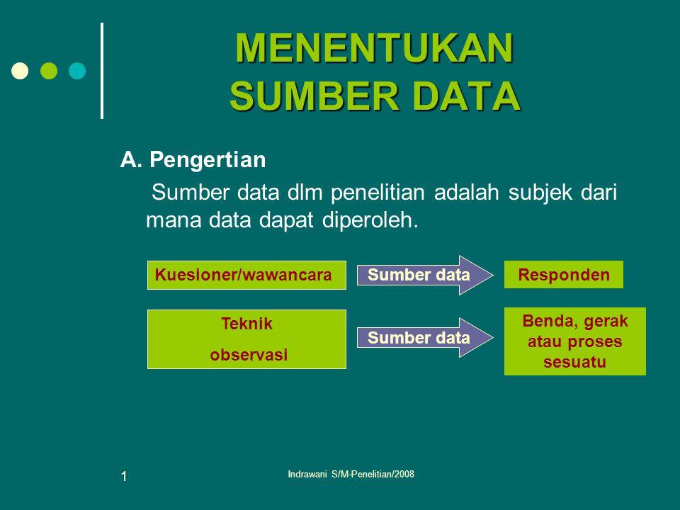 Indrawani S/M-Penelitian/2008 1 MENENTUKAN SUMBER DATA A. Pengertian Sumber data dlm penelitian adalah subjek dari mana data dapat diperoleh. Kuesione