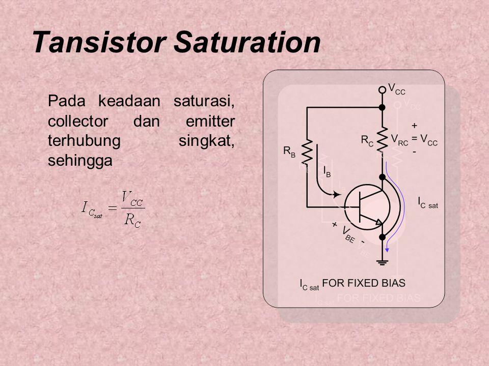 Tansistor Saturation Pada keadaan saturasi, collector dan emitter terhubung singkat, sehingga