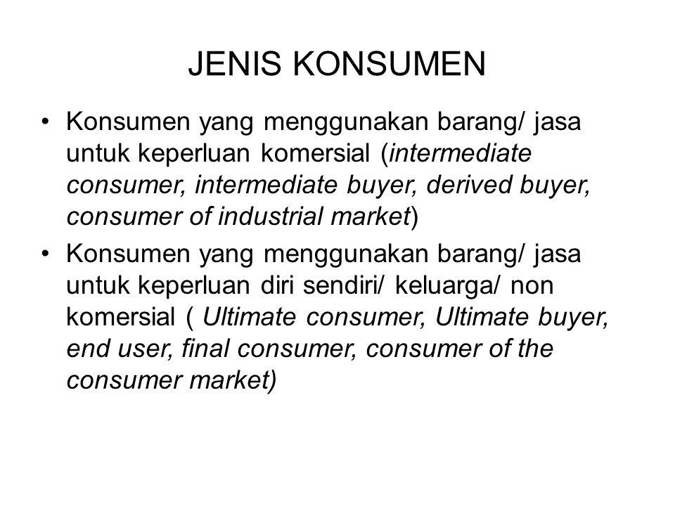 Konsumen yang menggunakan barang/ jasa untuk keperluan komersial (intermediate consumer, intermediate buyer, derived buyer, consumer of industrial mar