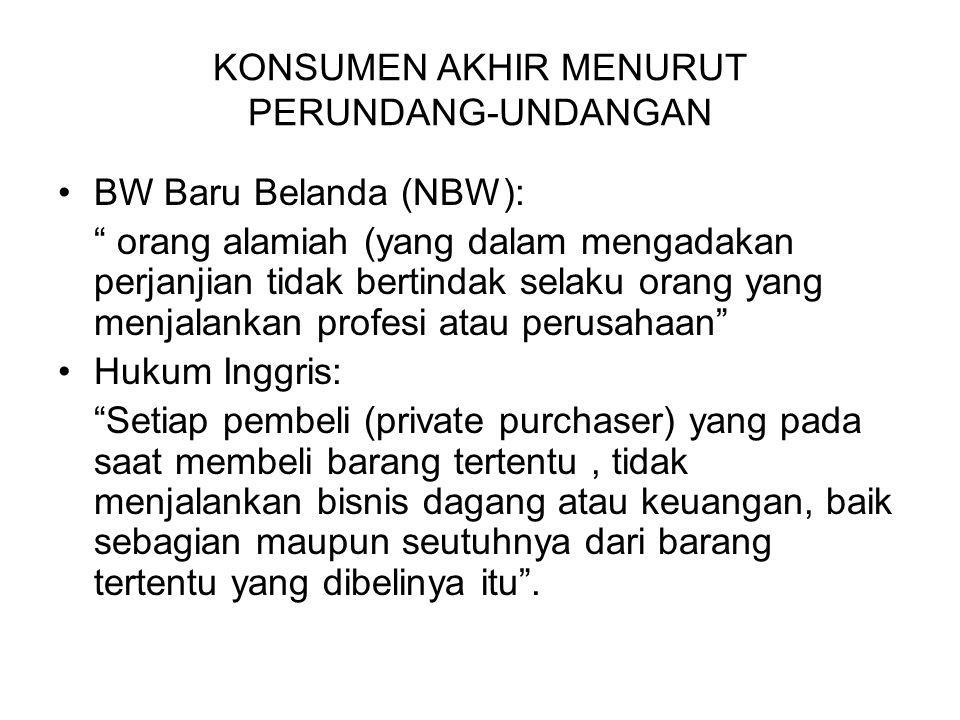 "BW Baru Belanda (NBW): "" orang alamiah (yang dalam mengadakan perjanjian tidak bertindak selaku orang yang menjalankan profesi atau perusahaan"" Hukum"