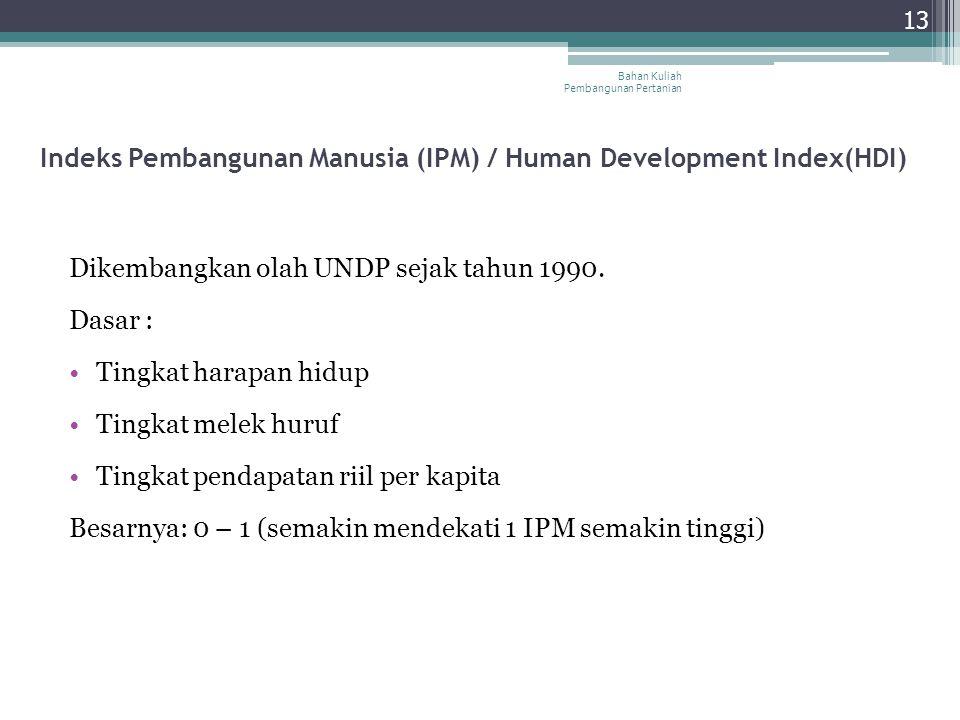 Indeks Pembangunan Manusia (IPM) / Human Development Index(HDI) Dikembangkan olah UNDP sejak tahun 1990. Dasar : Tingkat harapan hidup Tingkat melek h