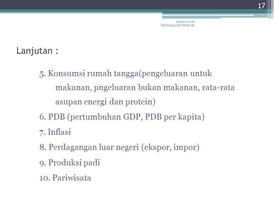 Lanjutan : 5. Konsumsi rumah tangga(pengeluaran untuk makanan, pngeluaran bukan makanan, rata-rata asupan energi dan protein) 6. PDB (pertumbuhan GDP,