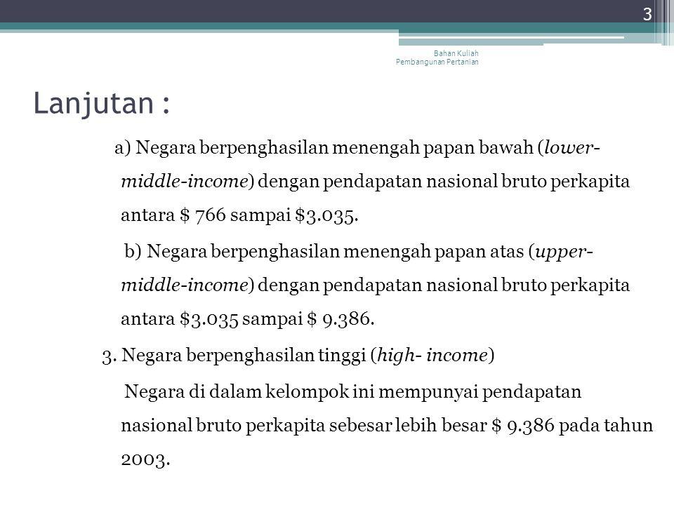 Lanjutan : a) Negara berpenghasilan menengah papan bawah (lower- middle-income) dengan pendapatan nasional bruto perkapita antara $ 766 sampai $3.035.