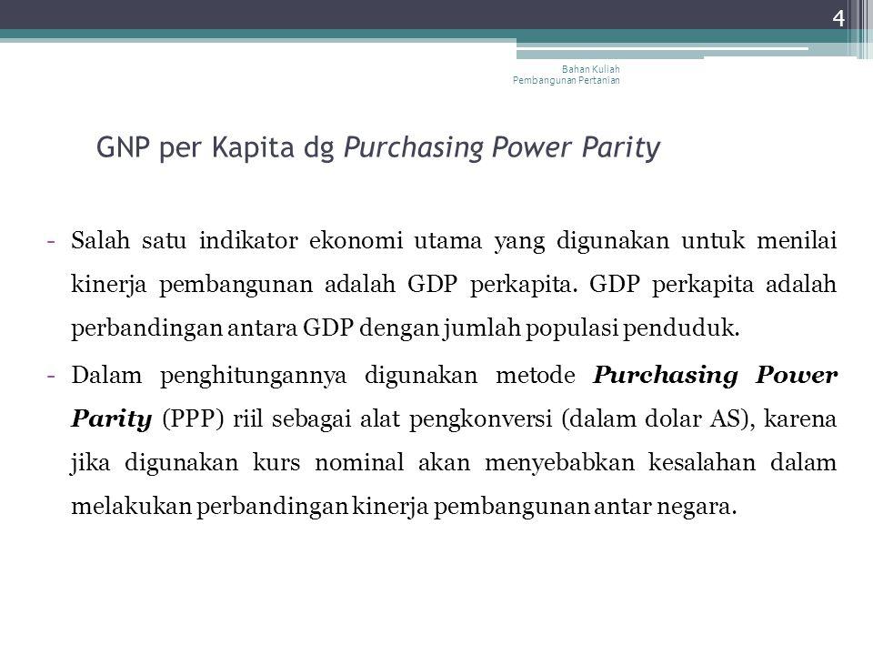 4 GNP per Kapita dg Purchasing Power Parity -Salah satu indikator ekonomi utama yang digunakan untuk menilai kinerja pembangunan adalah GDP perkapita.