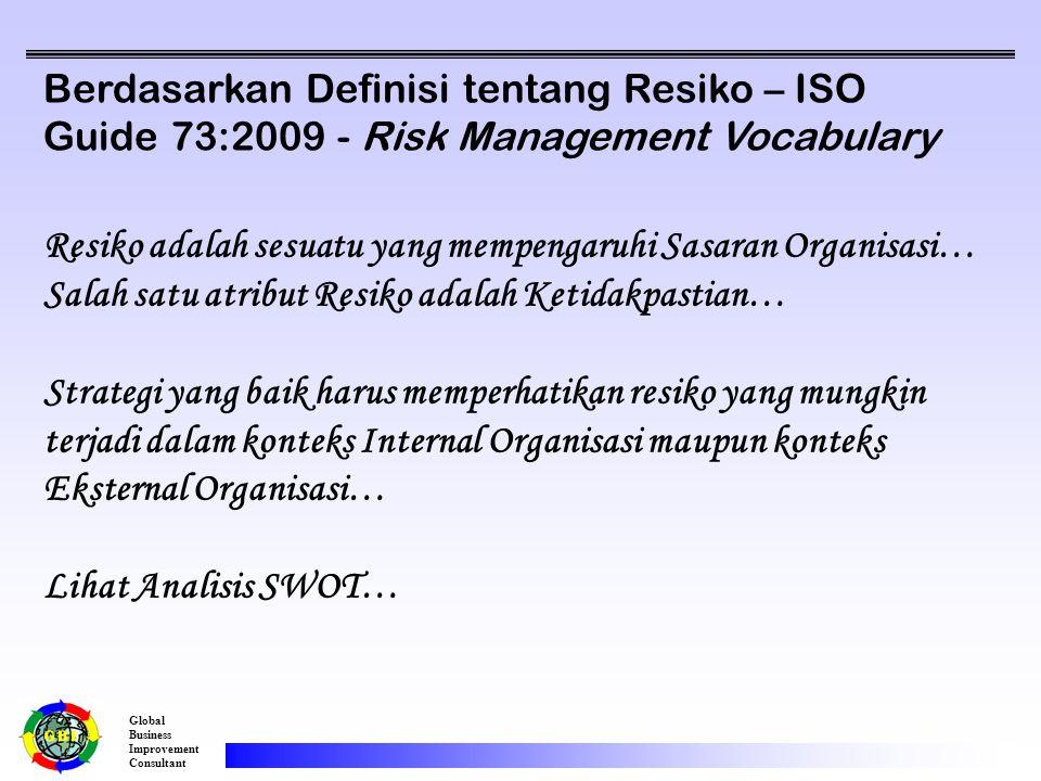 Global Business Improvement Consultant Berdasarkan Definisi tentang Resiko – ISO Guide 73:2009 - Risk Management Vocabulary Resiko adalah sesuatu yang mempengaruhi Sasaran Organisasi… Salah satu atribut Resiko adalah Ketidakpastian… Strategi yang baik harus memperhatikan resiko yang mungkin terjadi dalam konteks Internal Organisasi maupun konteks Eksternal Organisasi… Lihat Analisis SWOT…