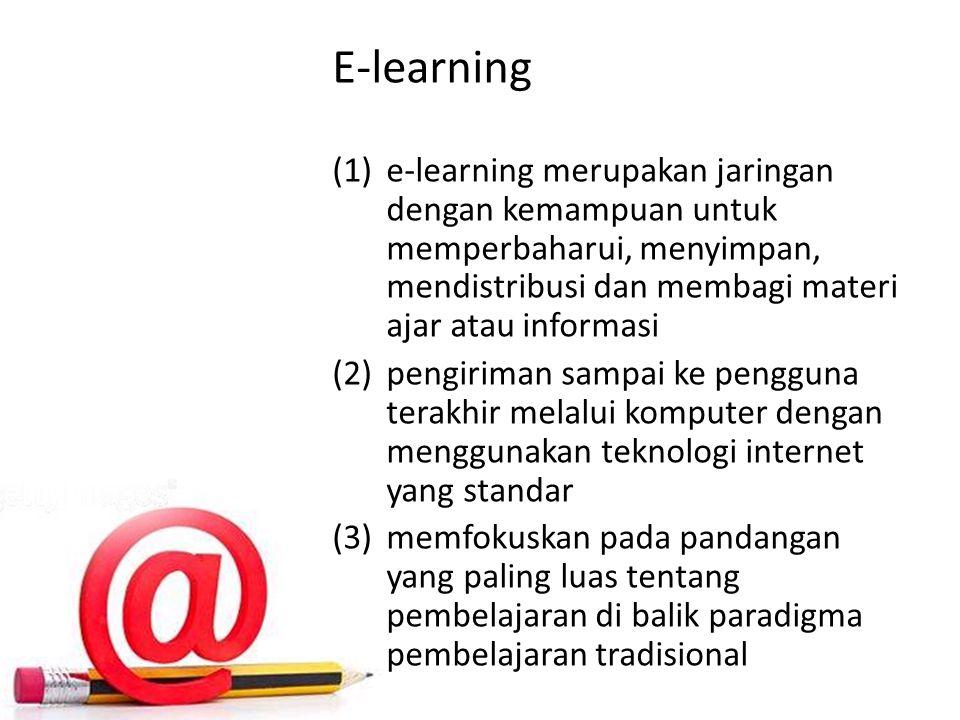 E-learning (1)e-learning merupakan jaringan dengan kemampuan untuk memperbaharui, menyimpan, mendistribusi dan membagi materi ajar atau informasi (2)pengiriman sampai ke pengguna terakhir melalui komputer dengan menggunakan teknologi internet yang standar (3)memfokuskan pada pandangan yang paling luas tentang pembelajaran di balik paradigma pembelajaran tradisional