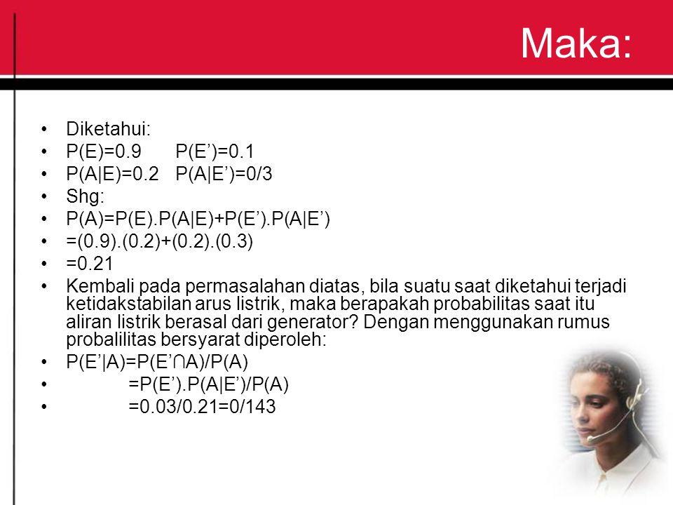 Maka: Diketahui: P(E)=0.9P(E')=0.1 P(A E)=0.2P(A E')=0/3 Shg: P(A)=P(E).P(A E)+P(E').P(A E') =(0.9).(0.2)+(0.2).(0.3) =0.21 Kembali pada permasalahan diatas, bila suatu saat diketahui terjadi ketidakstabilan arus listrik, maka berapakah probabilitas saat itu aliran listrik berasal dari generator.