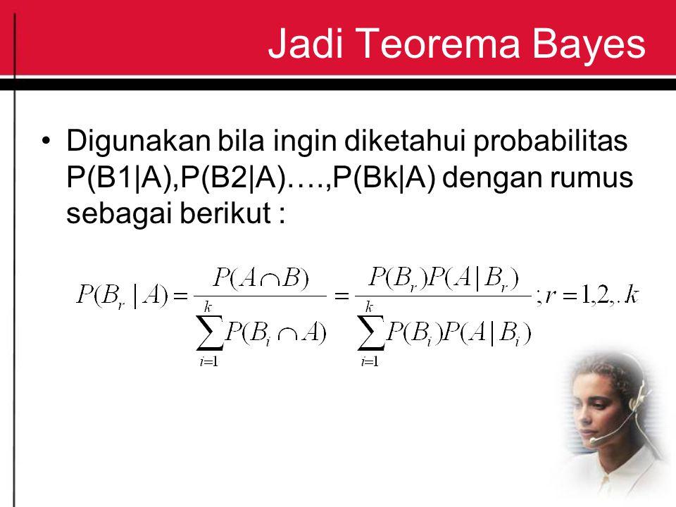 Jadi Teorema Bayes Digunakan bila ingin diketahui probabilitas P(B1 A),P(B2 A)….,P(Bk A) dengan rumus sebagai berikut :