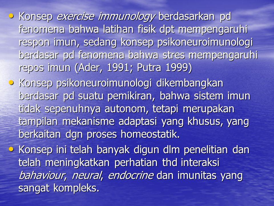 Konsep exercise immunology berdasarkan pd fenomena bahwa latihan fisik dpt mempengaruhi respon imun, sedang konsep psikoneuroimunologi berdasar pd fen