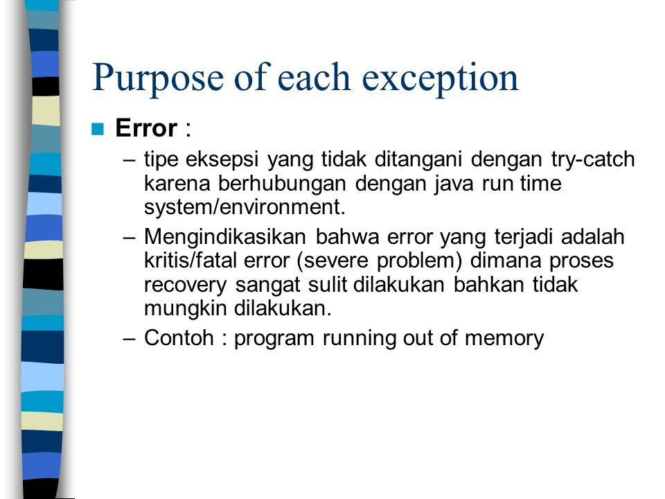 Purpose of each exception Error : –tipe eksepsi yang tidak ditangani dengan try-catch karena berhubungan dengan java run time system/environment. –Men