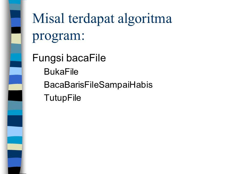 Misal terdapat algoritma program: Fungsi bacaFile BukaFile BacaBarisFileSampaiHabis TutupFile