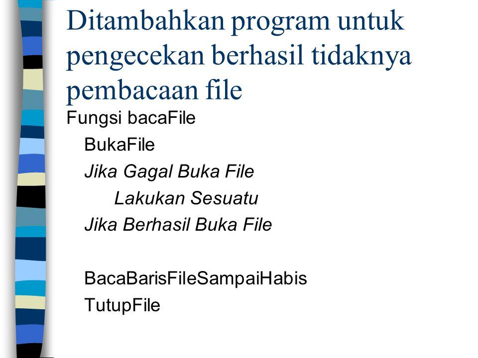 Ditambahkan program untuk pengecekan berhasil tidaknya pembacaan file Fungsi bacaFile BukaFile Jika Gagal Buka File Lakukan Sesuatu Jika Berhasil Buka