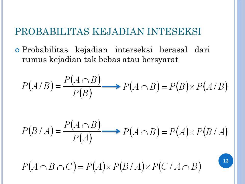PROBABILITAS KEJADIAN INTESEKSI Probabilitas kejadian interseksi berasal dari rumus kejadian tak bebas atau bersyarat 13