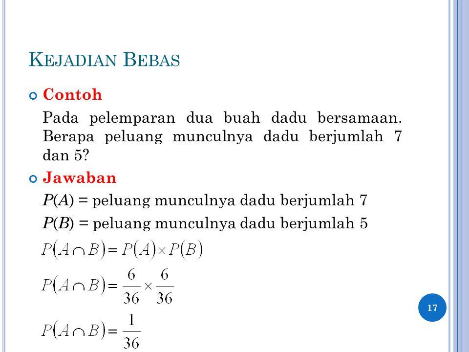 K EJADIAN B EBAS Contoh Pada pelemparan dua buah dadu bersamaan. Berapa peluang munculnya dadu berjumlah 7 dan 5? Jawaban P ( A ) = peluang munculnya