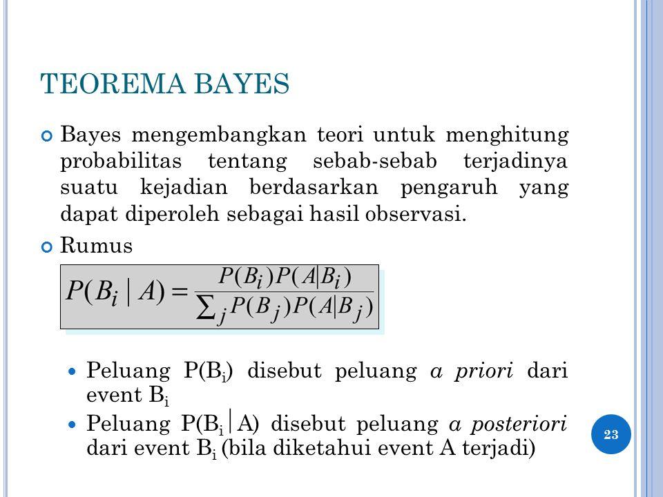 TEOREMA BAYES Bayes mengembangkan teori untuk menghitung probabilitas tentang sebab-sebab terjadinya suatu kejadian berdasarkan pengaruh yang dapat diperoleh sebagai hasil observasi.