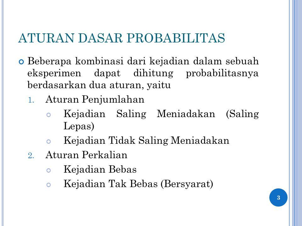 ATURAN DASAR PROBABILITAS Beberapa kombinasi dari kejadian dalam sebuah eksperimen dapat dihitung probabilitasnya berdasarkan dua aturan, yaitu 1. Atu