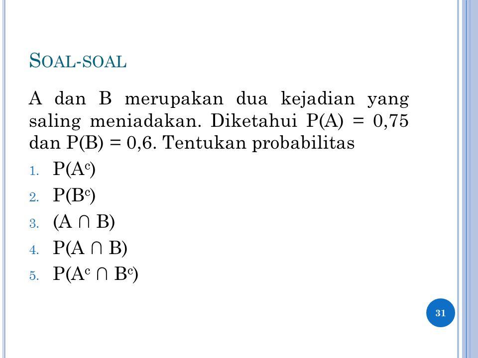 S OAL - SOAL A dan B merupakan dua kejadian yang saling meniadakan. Diketahui P(A) = 0,75 dan P(B) = 0,6. Tentukan probabilitas 1. P(A c ) 2. P(B c )
