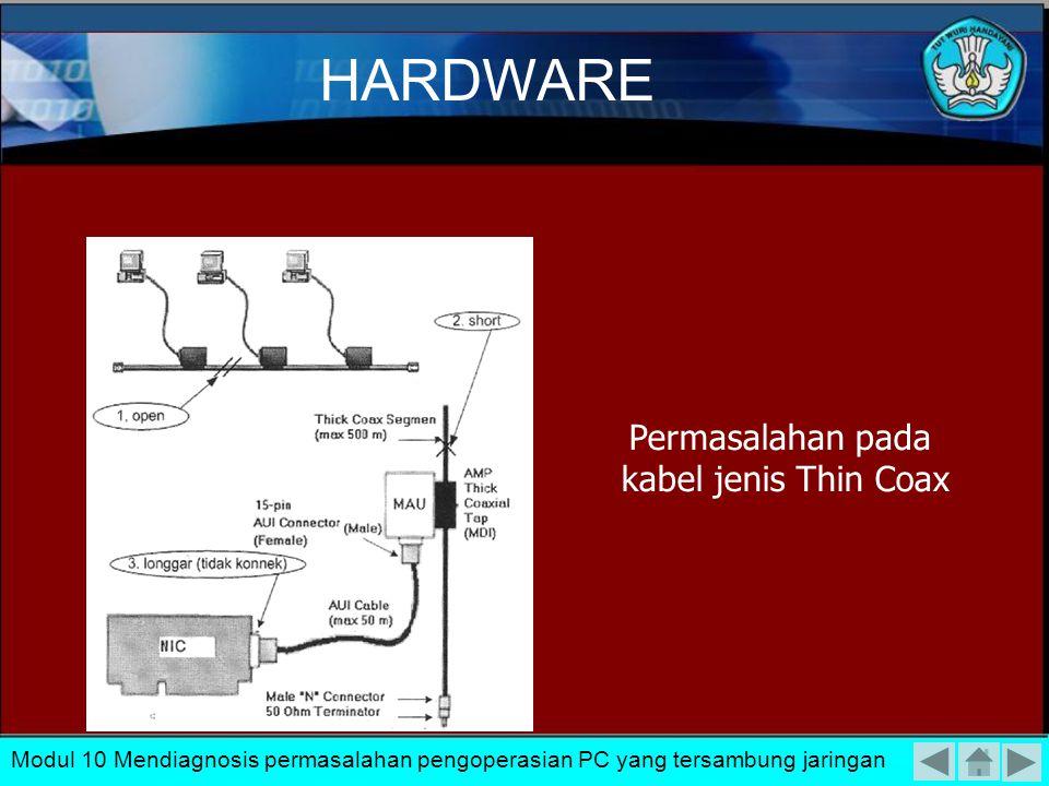 1.Kabel Terbuka (open). Kondisi ini menyatakan bahwa telah terjadi putusnya kabel dalam jaringan yangmenyebabkan kabel tidak dapat menghantarkan data.