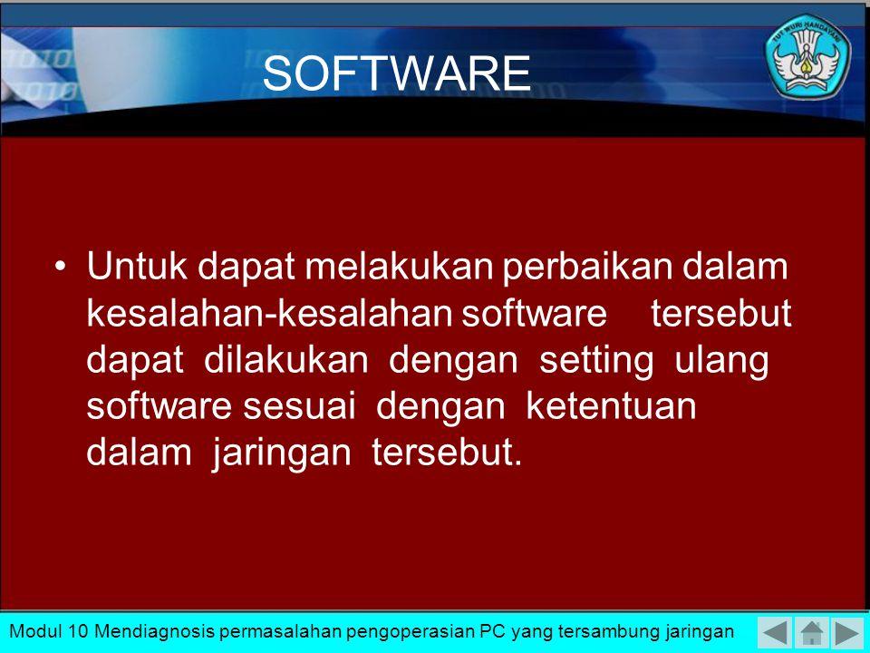 Permasalahan yang sering muncul pada bagian software ini pada umumnya bisa dikelompokkan : Kesalahan setting konfigurasi jaringan Kesalahan Protocol y