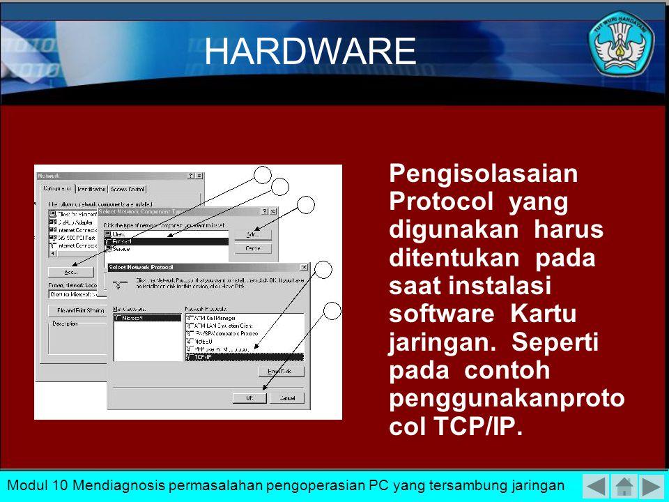 Pengisolasian permasalahan secara Hardware 1.mengisolasi kerusakan pada kartu jaringan 2.mengisolasi permasalahan pengkabelan dan konektor Modul 10 Me
