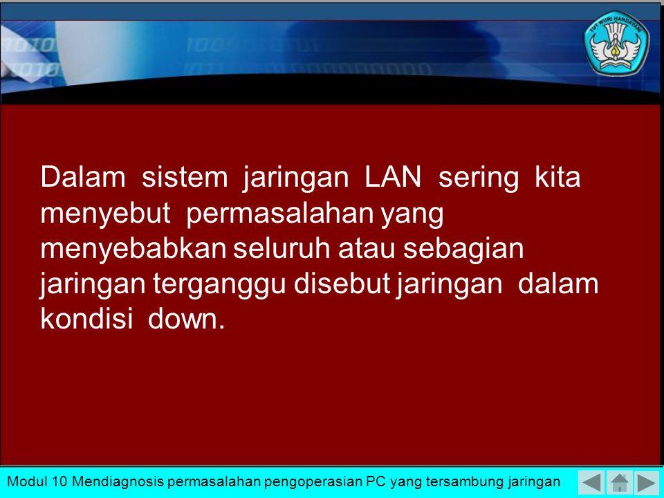 Dalam sistem jaringan LAN sering kita menyebut permasalahan yang menyebabkan seluruh atau sebagian jaringan terganggu disebut jaringan dalam kondisi down.