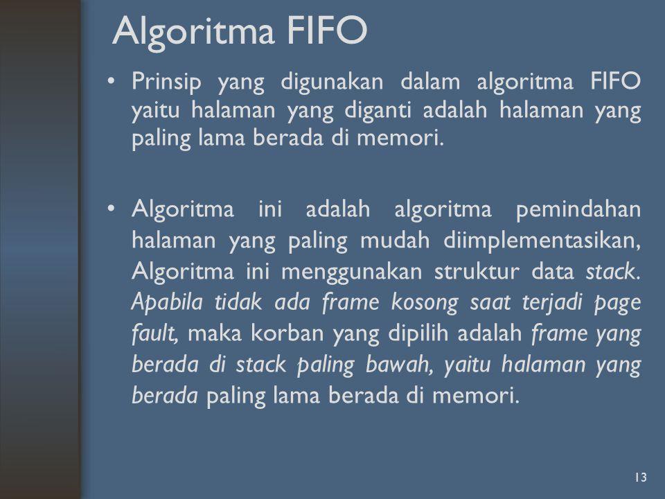 13 Algoritma FIFO Prinsip yang digunakan dalam algoritma FIFO yaitu halaman yang diganti adalah halaman yang paling lama berada di memori. Algoritma i