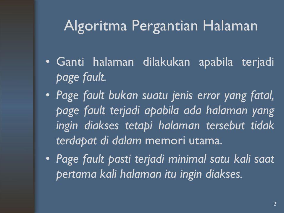 Ganti halaman dilakukan apabila terjadi page fault. Page fault bukan suatu jenis error yang fatal, page fault terjadi apabila ada halaman yang ingin d