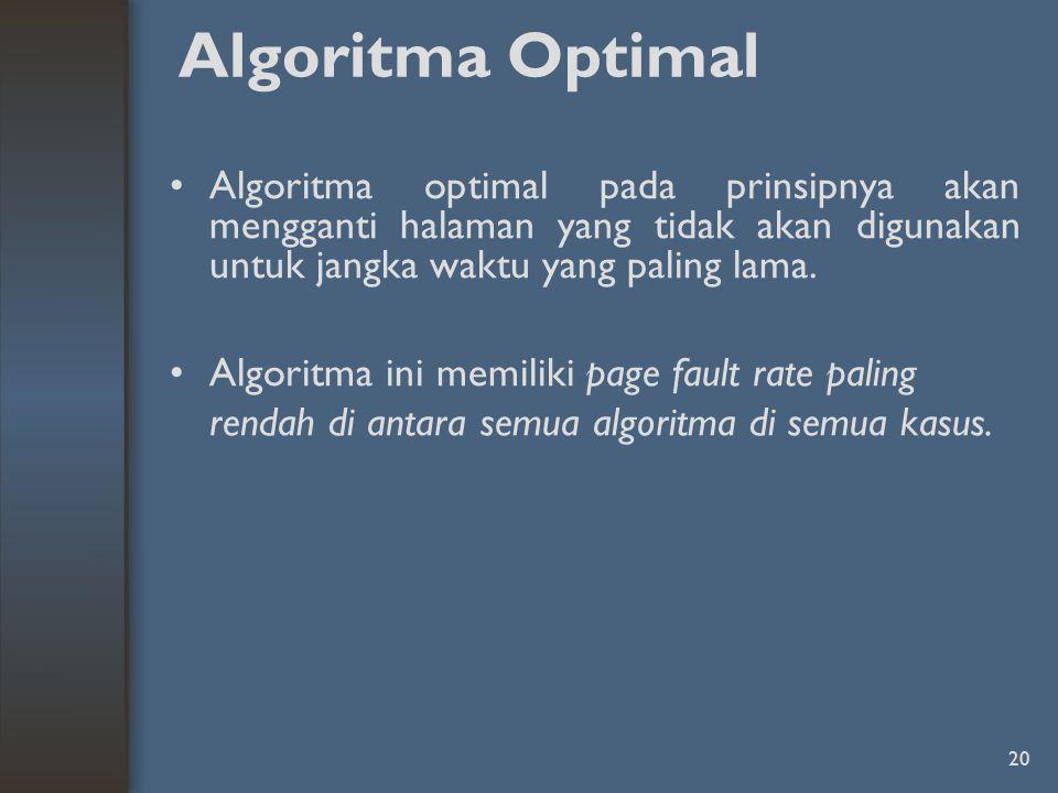 20 Algoritma Optimal Algoritma optimal pada prinsipnya akan mengganti halaman yang tidak akan digunakan untuk jangka waktu yang paling lama. Algoritma