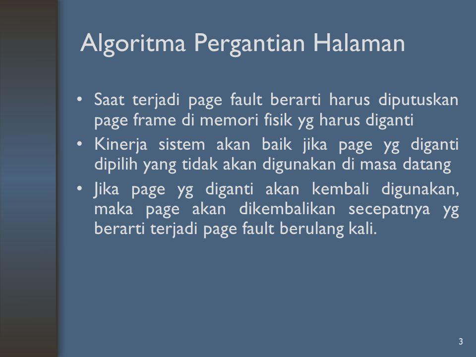 3 Algoritma Pergantian Halaman Saat terjadi page fault berarti harus diputuskan page frame di memori fisik yg harus diganti Kinerja sistem akan baik j