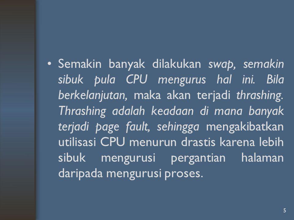 Semakin banyak dilakukan swap, semakin sibuk pula CPU mengurus hal ini. Bila berkelanjutan, maka akan terjadi thrashing. Thrashing adalah keadaan di m