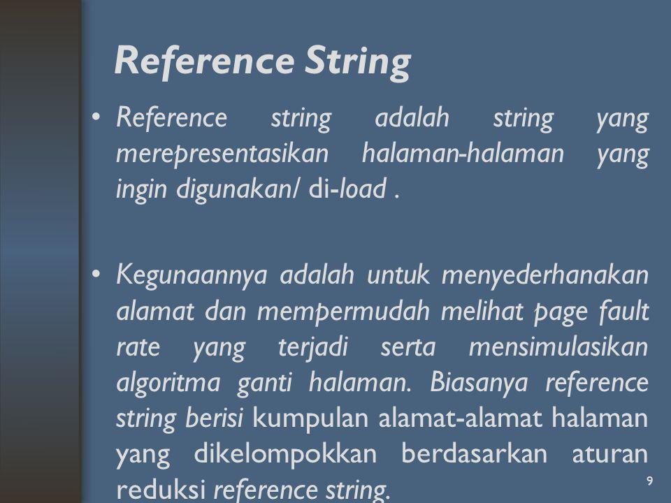 Reference String Reference string adalah string yang merepresentasikan halaman-halaman yang ingin digunakan/ di-load. Kegunaannya adalah untuk menyede