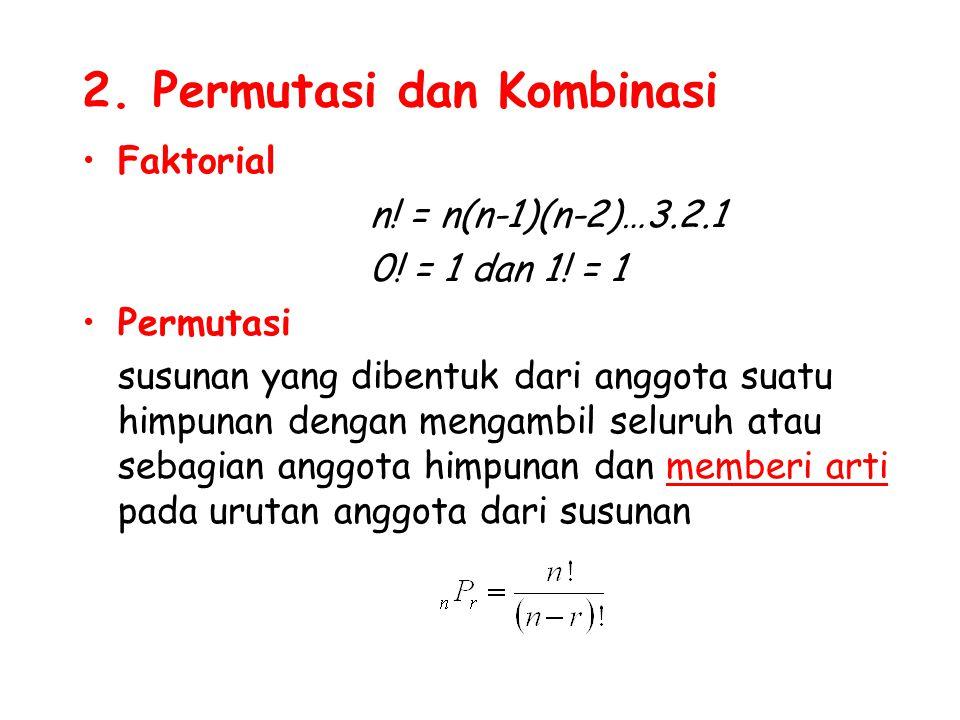 2. Permutasi dan Kombinasi Faktorial n! = n(n-1)(n-2)…3.2.1 0! = 1 dan 1! = 1 Permutasi susunan yang dibentuk dari anggota suatu himpunan dengan menga