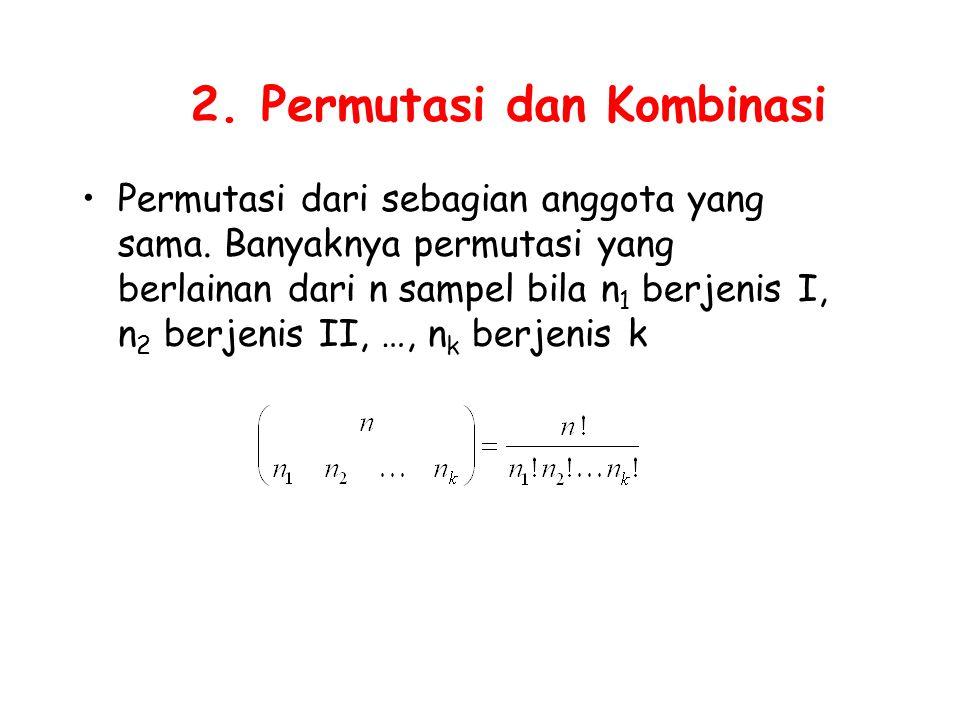 2. Permutasi dan Kombinasi Permutasi dari sebagian anggota yang sama. Banyaknya permutasi yang berlainan dari n sampel bila n 1 berjenis I, n 2 berjen