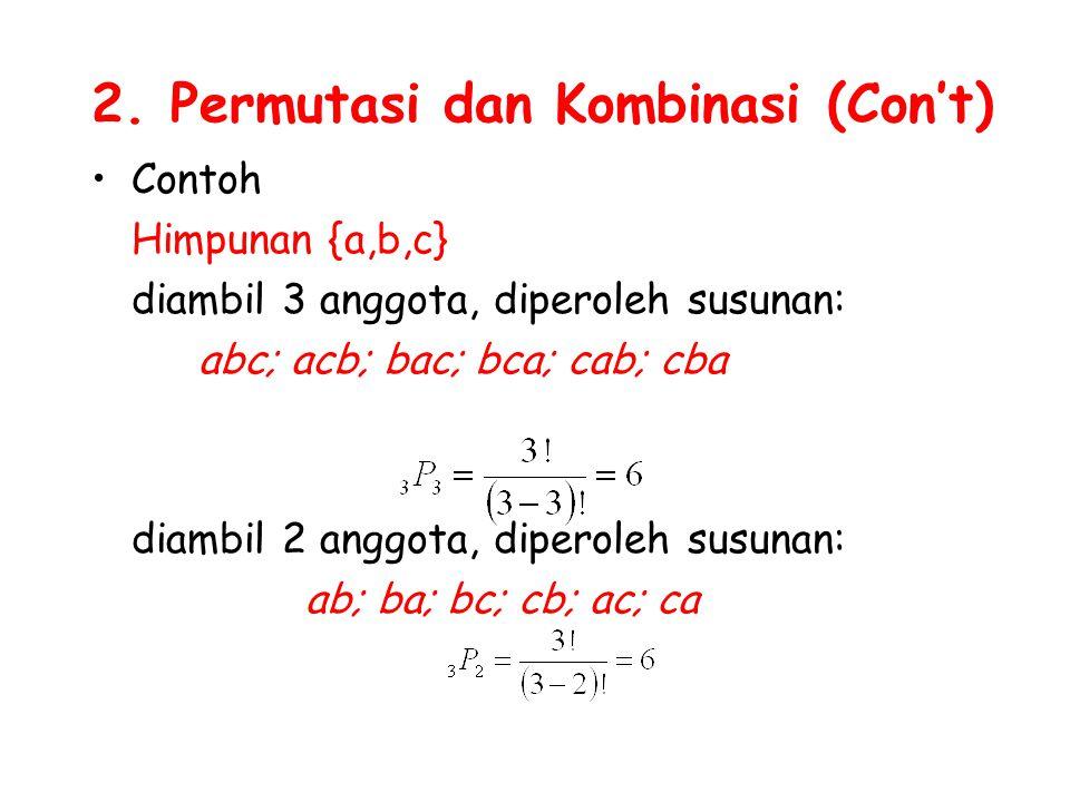2. Permutasi dan Kombinasi (Con't) Contoh Himpunan {a,b,c} diambil 3 anggota, diperoleh susunan: abc; acb; bac; bca; cab; cba diambil 2 anggota, diper