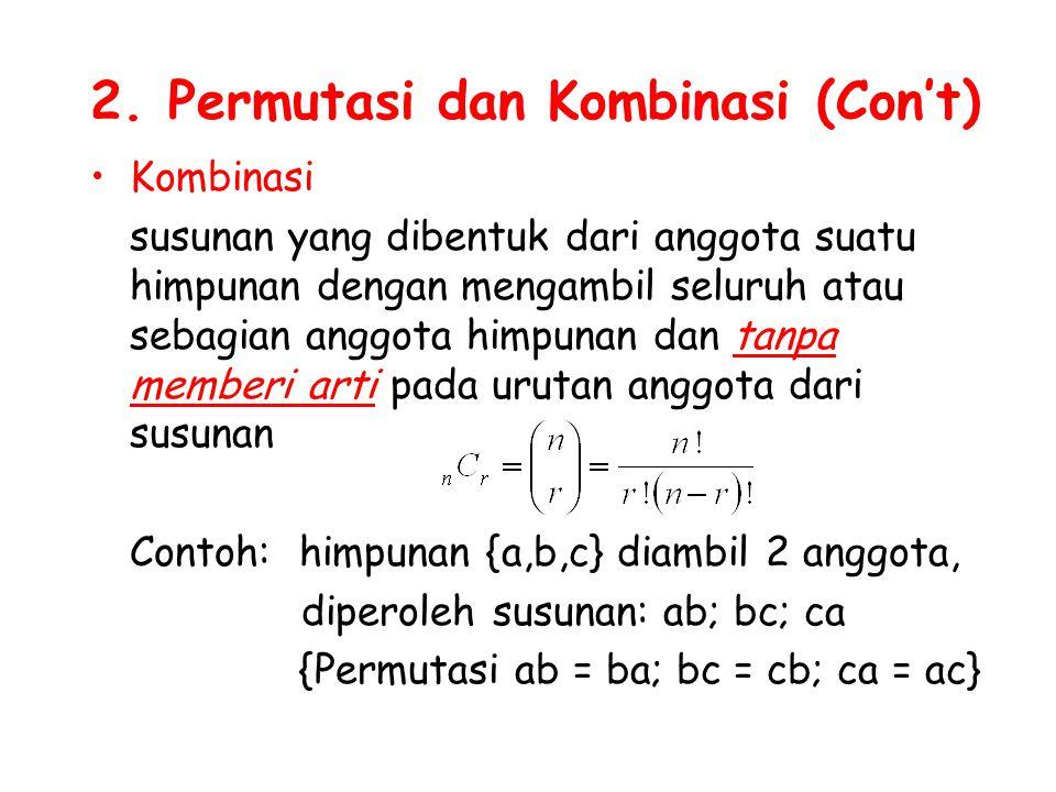 2. Permutasi dan Kombinasi (Con't) Kombinasi susunan yang dibentuk dari anggota suatu himpunan dengan mengambil seluruh atau sebagian anggota himpunan