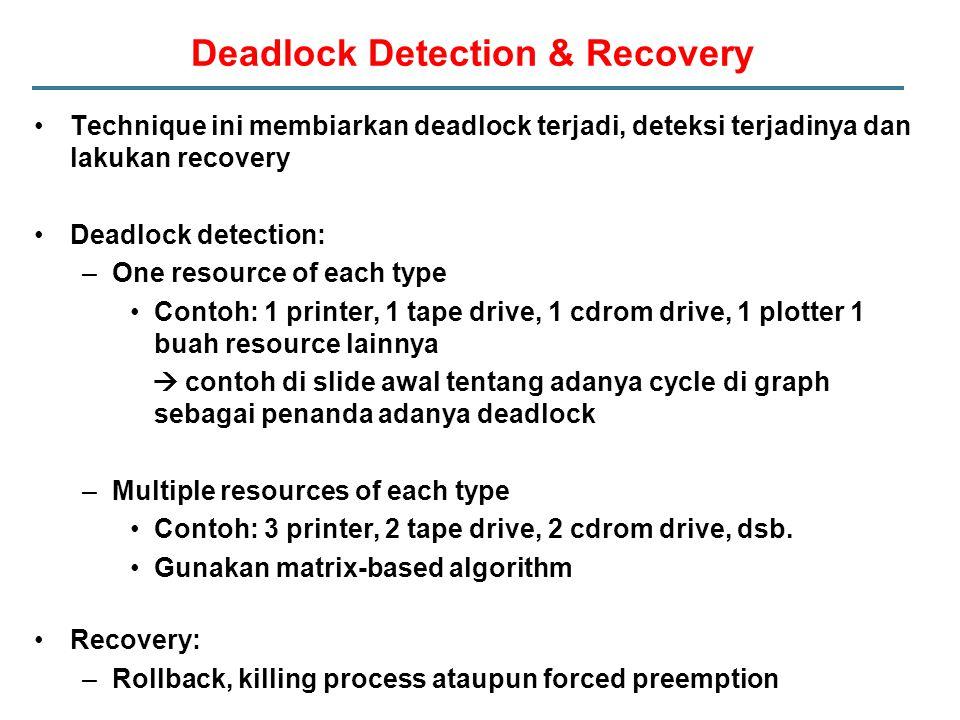 Deadlock Detection & Recovery Technique ini membiarkan deadlock terjadi, deteksi terjadinya dan lakukan recovery Deadlock detection: –One resource of