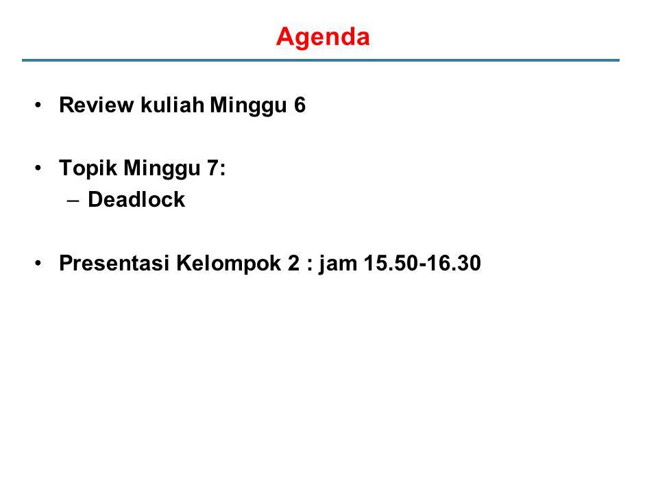 Agenda Review kuliah Minggu 6 Topik Minggu 7: –Deadlock Presentasi Kelompok 2 : jam 15.50-16.30