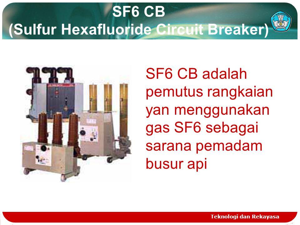 SF6 CB (Sulfur Hexafluoride Circuit Breaker) Teknologi dan Rekayasa SF6 CB adalah pemutus rangkaian yan menggunakan gas SF6 sebagai sarana pemadam bus