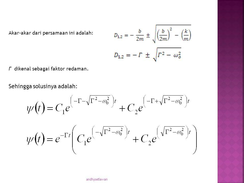 Akar-akar dari persamaan ini adalah: Γ dikenal sebagai faktor redaman. Sehingga solusinya adalah: andhysetiawan