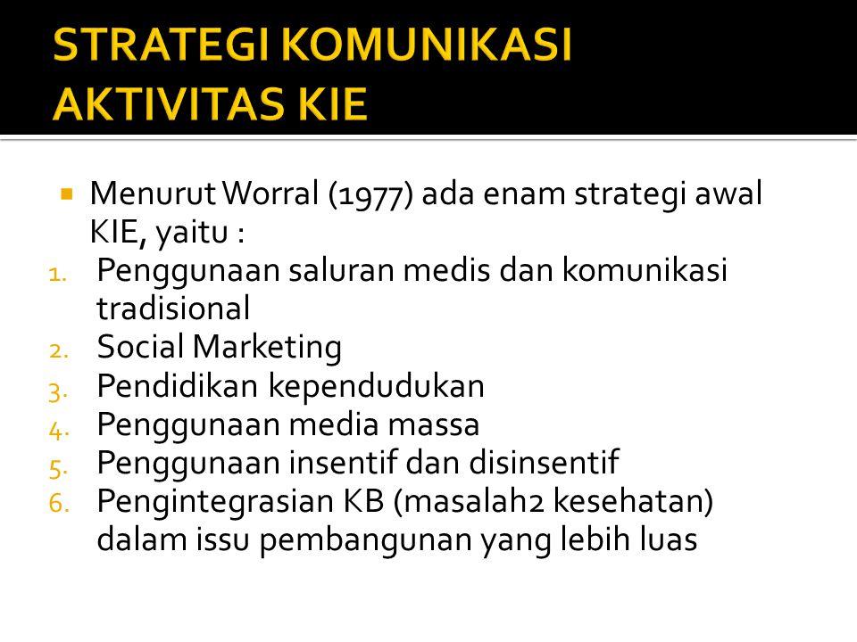  Menurut Worral (1977) ada enam strategi awal KIE, yaitu : 1. Penggunaan saluran medis dan komunikasi tradisional 2. Social Marketing 3. Pendidikan k