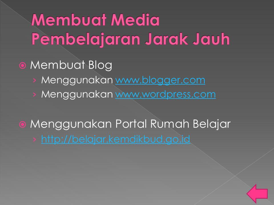  Membuat Blog › Menggunakan www.blogger.comwww.blogger.com › Menggunakan www.wordpress.comwww.wordpress.com  Menggunakan Portal Rumah Belajar › http